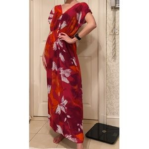 Mossimo Red Orange and White Maxi Dress